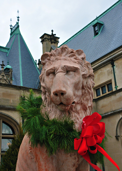 Christmas Garland on a Lion in front of Biltmore in Asheville
