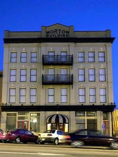 Morton Theatre exterior evening