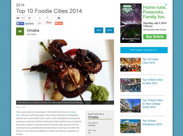 Top Ten Foodie Cities 2014