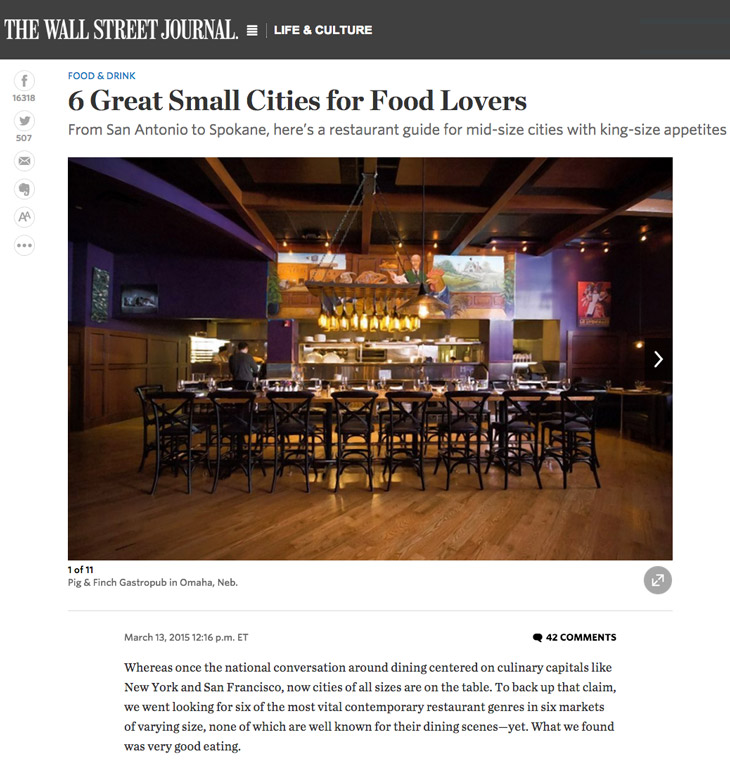 wsj article - 6 great small cities for food lovers