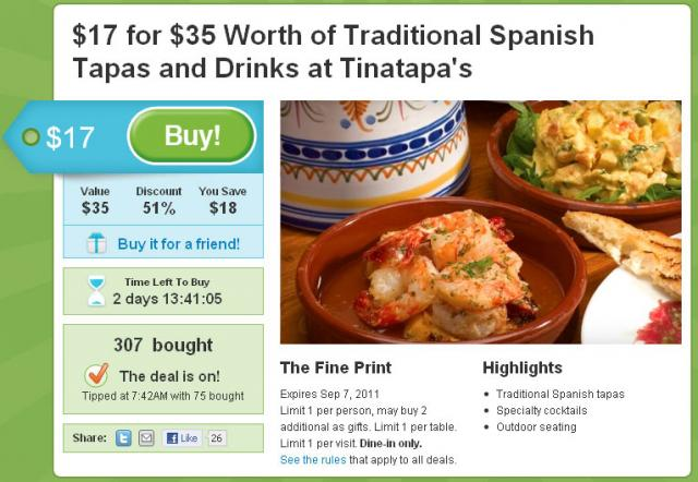Its a Groupon at Tinatapas!