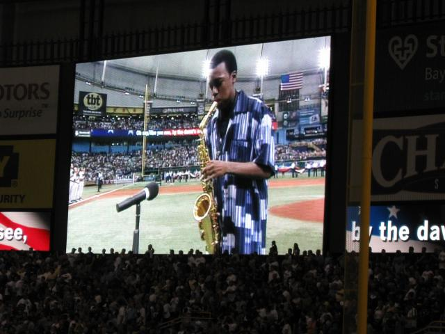 BK Jackson performs the National Anthem