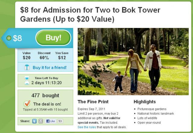 Bok Tower Groupon