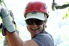 Josh Hutcherson ziplining at Navitat.