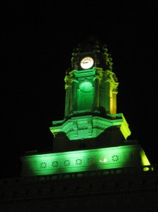 City Hall lit up in A's green