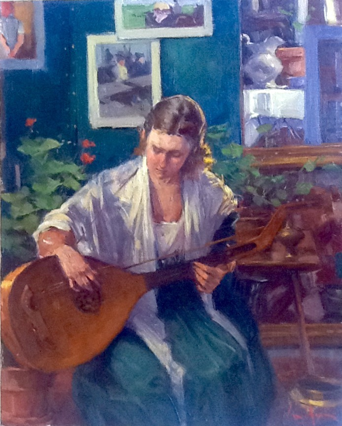 "George Van Hook, ""The Lute Player,"" oil on canvas;"