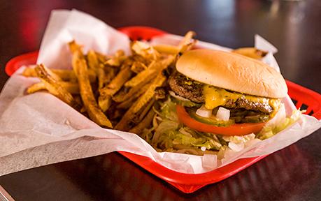 Burgers and Fries. Photo by Hut's Hamburgers