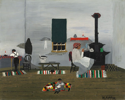 Horace Pippin (1888-1946) Interior (also known as Interior of Cabin), 1944, oil on fabric. National Gallery of Art, Washington, D.C., Gift of Mr. and Mrs. Meyer P. Potamkin in honor of the Fiftieth Anniversary of the National Gallery of Art, 1991