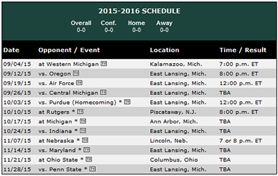 This is 2015 Spartan Football! Circle the home opener against Oregon and annual battles with OSU and michigan.