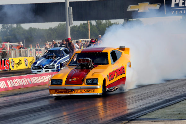 Nostalgic drag racers will converge on Lucas Oil Raceway on Saturday for the inaugural Indy Quarter-Mile Classic. (Photo courtesy of Lucas Oil Raceway Facebook page)