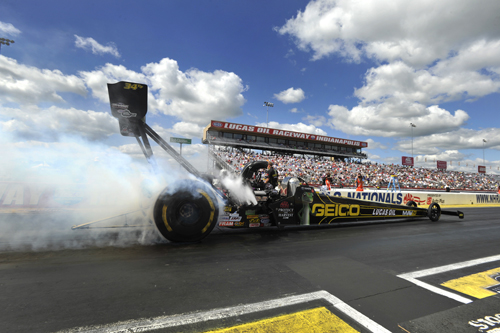 Top Fuel car at U.S. Nationals at Lucas Oil Raceway in Brownsburg, Indiana