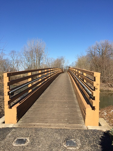 Red Maple Path Bridge in Hummel Park, Plainfield, Indiana
