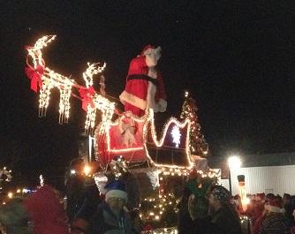 Santa at Christmas Under the Stars parade in Brownsburg, Indiana