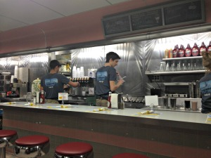 The 50s-style counter is preserved and adds to the nostalgia at the Oasis Diner in Plainfield, Indiana