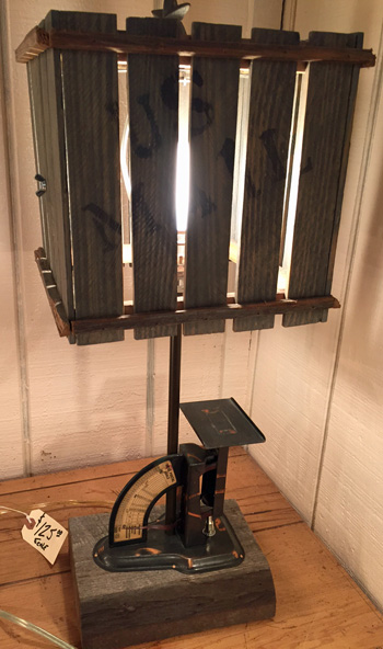 Vintage postal scale light at Old Bob's in Avon, Indiana
