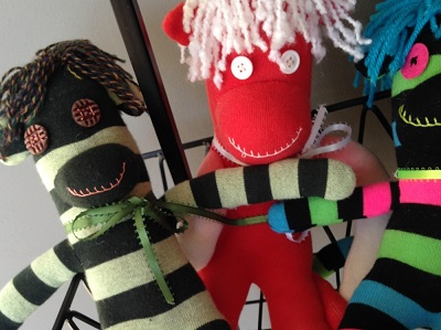 Sock critters at Art Sanctuary in Martinsville, Indiana