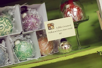 Chocolate ornaments at Confection Delights in Danville, Indiana