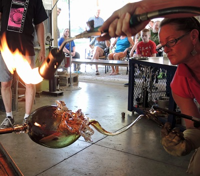 Glass Artists in Action at Hot Blown Glass in Clayton, Indiana