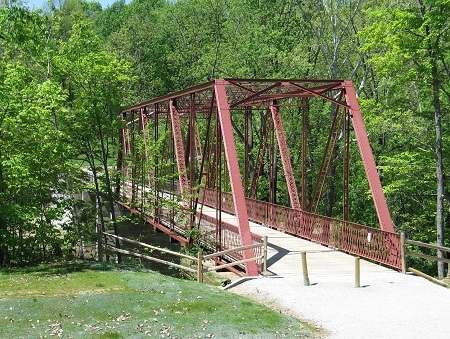 Historic iron truss bridge at McCloud Nature Park, North Salem, Indiana