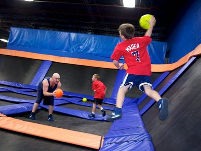 Dodge Ball at Sky Zone in Plainfield, Indiana, is quite popular