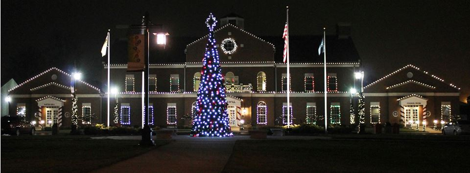 Brownsburg Indiana Town Hall Light Display