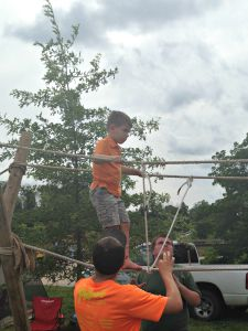 Kids can test their balance on the rope bridge at the Hendricks County 4-H Fair in Danville, Indiana.
