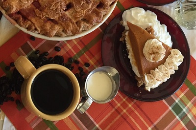 Pumpkin pie with coffee at Bread Basket Cafe & Bakery in Danville, Indiana