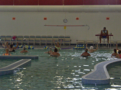 Water aerobics at Richard A Carlucci Recreation and Aquatics Center in Plainfield, Indiana