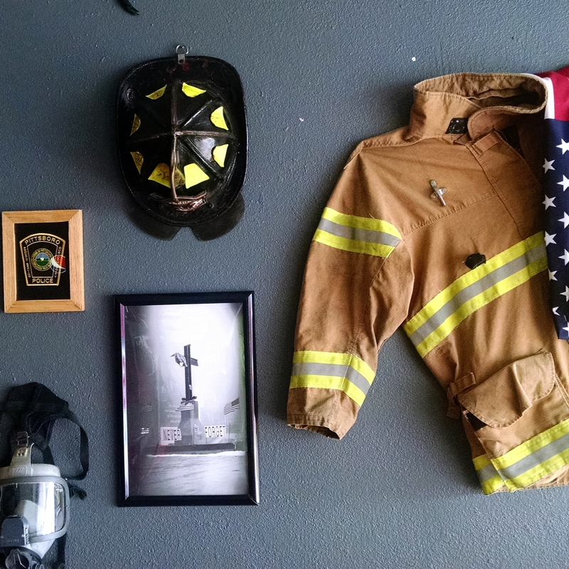 Some of the wall decorations donated to Jimbo's BBQ by the Pittsboro Fire Department and Pittsboro Police Department.