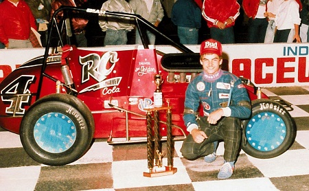 A high school-age Jeff Gordon celebrates his first win in 1989 at what is now Lucas Oil Raceway in Brownsburg, Indiana. (Photo courtesy of Lucas Oil Raceway)