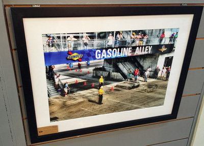 Framed racing photography at Old Bob's in Avon, Indiana