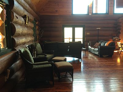 Living room at Natural Valley Ranch Cabin in Brownsburg, Indiana