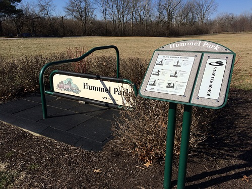 Sign for runners at Guilford Township's Hummel Park in Plainfield, Indiana