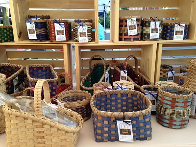 Baskets at Handmade Market booth in Danville, Indiana