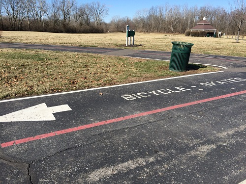 Running and biking lanes on Hummel Park paved trails in Plainfield, Indiana