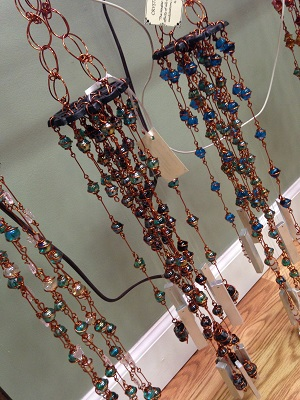 Handmade windchimes that can be found at Fleurs de Beausoleil in Coatesville, Indiana.