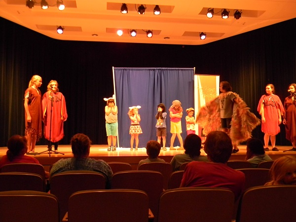 The theater at the Main Branch of the ACPL is roomy enough for kids to work.