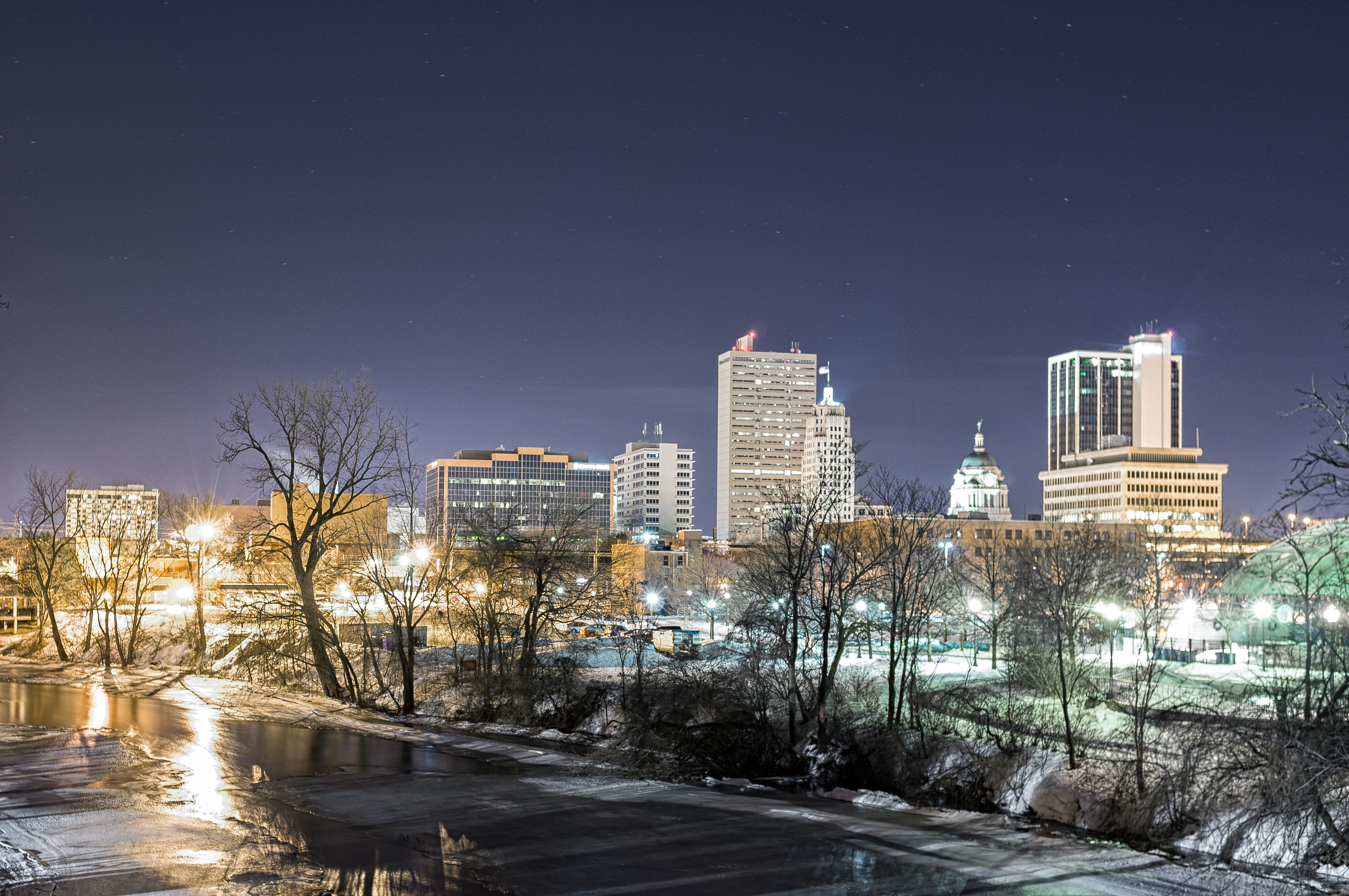 Fort Wayne Skyline on Bridge Over St. Mary's River