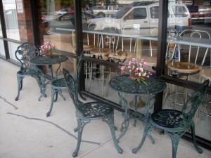 Both indoor and outdoor seating at the Cookie Cottage, when weather permits.