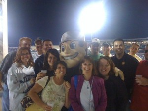 3 Rivers Federal Credit Union Employees enjoying a night off with Johnny Tincap at Parkview Field