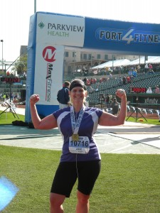 Julie Tutwiler completing her 2nd Fort For Fitness Half Marathon after loosing over 50 pounds and gaining a passion for running