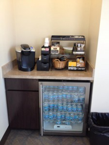Enjoy complimentary hot cocoa, coffee, tea, and bottled water while visiting 3 Rivers Harrison Square