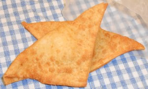 One order of crab Rangoon - 2 pieces, crispy and tangy-creamy!