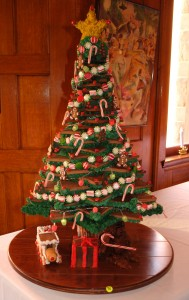 A feat of engineering and culinary skill - a Christmas tree made entirely of gingerbread and frosting!
