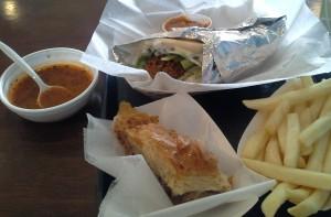 falafel, spicy lentil soup, baklava