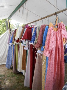 Calico pioneer dresses at one booth, where customers are welcome to explore and purchase just the right frock.