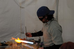 Join local artist Eran Park as he blows glass at Maker Faire 2014.