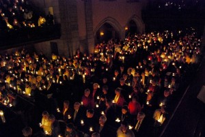 The gentle warmth of golden candles brings such peace to a church!