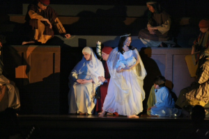 A angel performing liturgical dance - fits right in with the Boar's Head and Yule Log Festival.