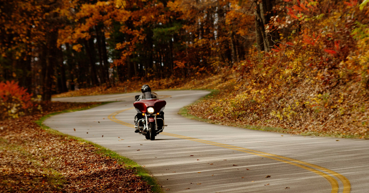 Image result for motorcycle on fall roads